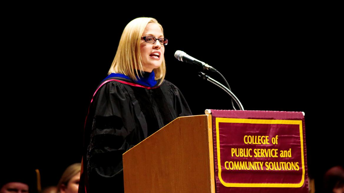 Senator-elect Kyrsten Sinema gave the keynote address at the Watts College of Public Service and Community Solutions Convocation at Comerica Theater in December 2016