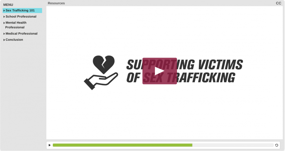 Image of Sex Trafficking 101 online interactive tutorial with a play button