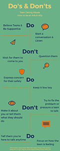 Do's and Don'ts. Teen Dating Abuse. How to be an adult Ally infographic.