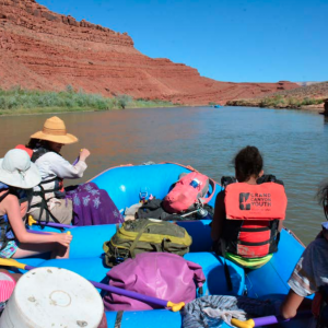 People on a river boat excursion in Native American lands